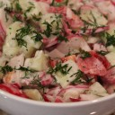 Radish & Cucumber Salad with Yoghurt Dressing.