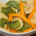 Kiwi, Mango & Banana Fruit Salad.